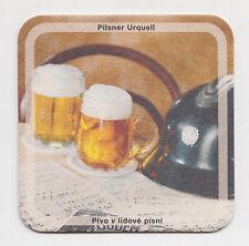 PILSNER URQUELL  beer coaster from  Czech Republic cca1998/99 2 pints & helmet