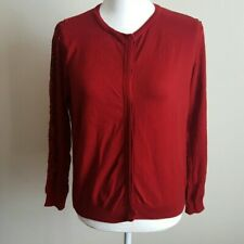 Zara Women's Knit Burgandy Lace Cardigan Size Medium Read*