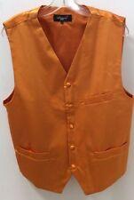Successo uomo Orange, Solid Tuxedo Suit Dress Vest,Ascot tie,Hankie Set, XL, new