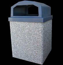 Trash Can (30 Gallon-Granite Gray Concrete Shell-with Lid and Liner)