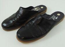 Jet Black Patent Leather Flat Mules Slides Size 5 M