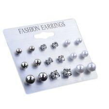 Fashion Women Pearl Rhinestone Multi Shape Stud Earrings Jewelry Earrings Set