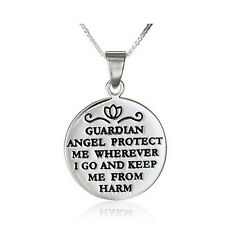 """*UK* 925 SILVER PLT 'GUARDIAN ANGEL PROTECT ME' ENGRAVED GOOD LUCK NECKLACE 18"""""""