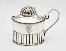 More details for victorian sterling silver ribbed mustard pot birmingham 1890 george unite