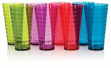 8 pc Plastic Tumblers Drinking Glasses Assorted Colors 28 oz Water Cups Set