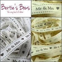 Bertie's Bows Mr & Mrs 16mm Grosgrain Wedding Ribbon - Multi Buy Saving