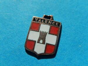 Medaille pendentif BLASON VINTAGE ARMOIRIE VILLE EMAILLE VALENCE DROME TOUR