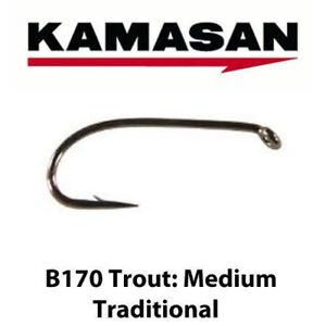 Kamasan B170 Medium Traditional Trout Fly Tying Game Fishing Hooks All Sizes