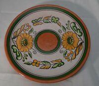 "Sunflower Platter 10.5"" Serving Plate Hand Painted Terracotta Folk Art"