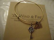 WIND AND FIRE KEY TO MY HEART Charm  Bangle Bracelet Gold Finish New W/ Box