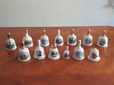 Vtg Lot of 13 Various Porcelain Bells - Souvenir City States Countries Christmas