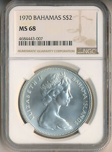 BAHAMAS 1970 $2 SILVER COIN **NGC CERTIFIED MS 68** FREE SHIPPING!!