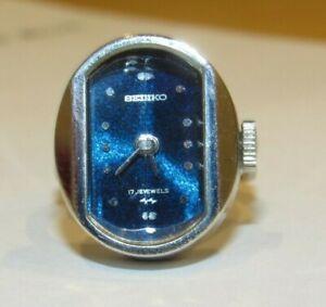 Vintage Seiko Ladies Ring Watch Working Blue Face 11-7740 - 17 Jewel 1976