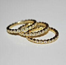 Eternity Ring Size 7 SET OF 3 14K sterling Silver & Gold plated 925 Cubic Zircon