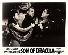 Son of Dracula original lobby card Lon Chaney strangles man Evelyn Ankers