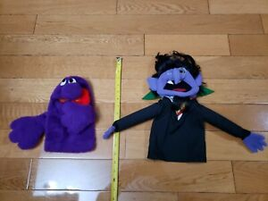 Vintage THE COUNT Sesame Street Jim Henson Muppet Hand Puppets 1972-76 Lot of 2