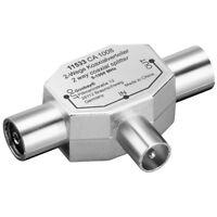DVB-C TV Radio Antennen Adapter Verteiler Splitter IEC 2 Koax Buchse - 1 Stecker