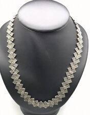 HEAVY Vintage Oxidized Sterling Silver 925 Marcasite Tennis Link Collar Necklace