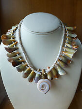 Lot 2 vintage heishi shell bead strand necklace heart swirl pendant choker bib