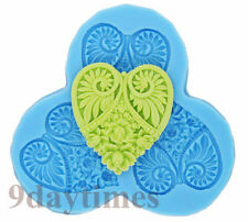 Heart Flower Pendant Cabochon Silicone Mold for Polymer Clay Crafts 52mm A083
