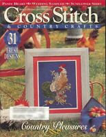 Cross Stitch & Country Crafts Magazine June 1995 Rooster Wedding Sampler Pansies