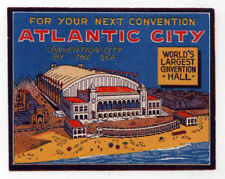 1930s ATLANTIC CITY NEW JERSEY Travel LABEL Decal CONVENTION Hall NJ Tourism