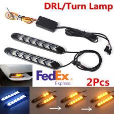 New 2x Car DRL Flowing LED Strip Light Headlight Arrow Flasher Turn Signal Light