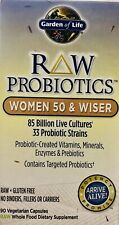 GARDEN OF LIFE RAW PROBIOTICS WOMEN 50 AND WISER 90 VEGETARIAN CAPSULERS- B8