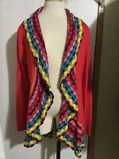 Double Zero Alterd State Cardigan Open Red Crochet Trim Boho L NWT MSRP $89.50