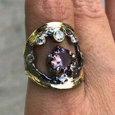 Turkish 100% Color Change Alexandrite 925 Solid Sterling Silver Ring Gold Plate