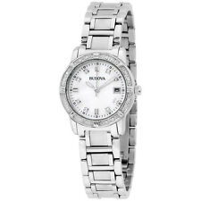 Bulova Diamond Collection White Dial Stainless Steel Ladies Watch 96R105