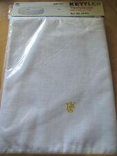 Kettler Tischdecke, oval  in weiß, gelb eingefasst, ca 220cm lang x 160cm breit