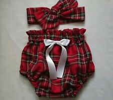 Beautiful Tartan Print Baby's Bloomer and Head wrap set girls clothes New