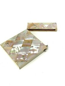 Stunning Antique Victorian Mother of Pearl Hinged Card Case #1107