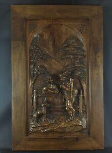 Antique bas-relief décors de porte sculpté sur bois en chêne - Henry II ou style
