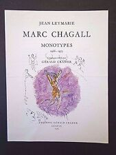 Chagall: Gerald Cramer monotype catalogue, Hacker Gallery exhibit card INV2665