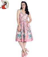 HELL BUNNY JENNA Summer DRESS 50s Style GLITTER PINK XS-4XL