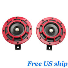 2PCS 12V Universal Red Super Grille Mount Tone Loud Compact Electric Horn Kit