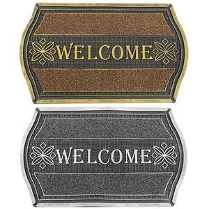 JVL Welcome Metallic Look Floral PVC Entrance Floor Door Mat, Gold/Silver