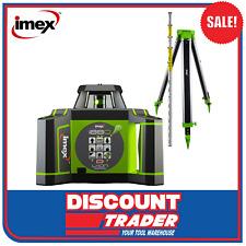 Imex Rotating Laser Level Green Beam Kit with Tripod & Staff - I88GK