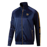 Puma Men's Zip Up Luxe Pack Track Jacket Navy Yellow M