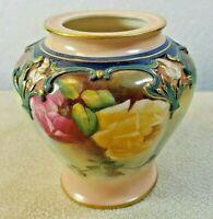 Original Hand Painted Flower Vase Embossed Ornate Design on Top Roses Pink