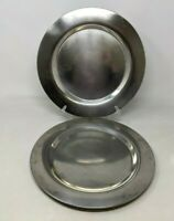 VTG MCM Set of 6 Scanmalay Denmark Danish Silver Tone Metal Chargers Plates BR20