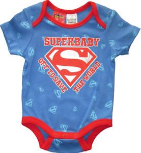 SUPERMAN Baby Boys Romper Super Hero Bodysuit Superbaby Infant Blue Red 000 NEW