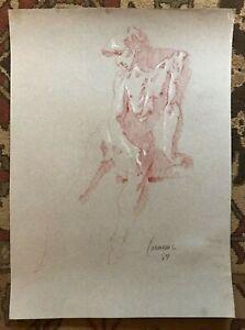 Harry Carmean Original Male Nude Charcoal Figure Drawing Signed Artwork