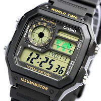 Casio Men's Classic 10Year Battery Stopwatch 100m Black Resin Watch AE1200WH-1BV