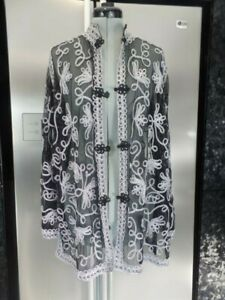 new 14 M L coat jacket black silver METALLIC cornelli TAPEWORK mesh appliqued