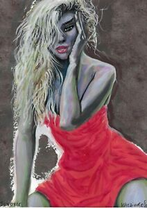 original painting A5 353UV art samovar Mixed Media female half naked Signed 2021