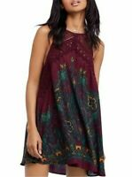 Free People Women's Purple Shea Printed Halter Neck Mini Dress Size Small NWT