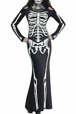 Long Skeleton Dress Adult Halloween Costume LC8877 women party Role Play fashion